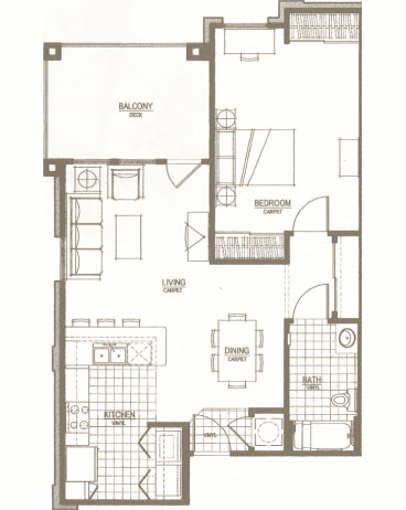 Luxury furnished apartment floor plan